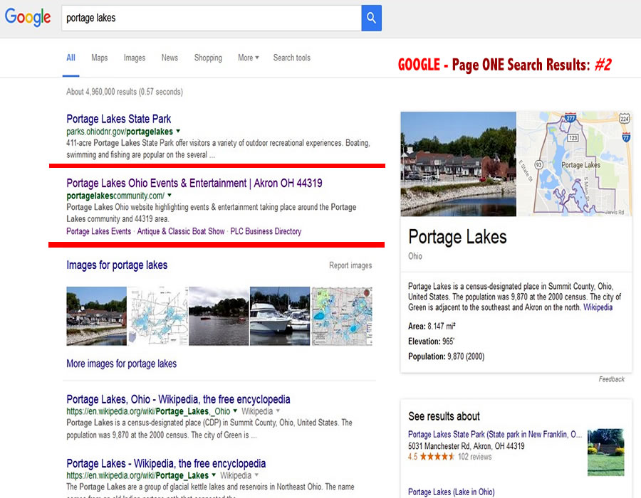 Google Search - Portage Lakes - Page ONE