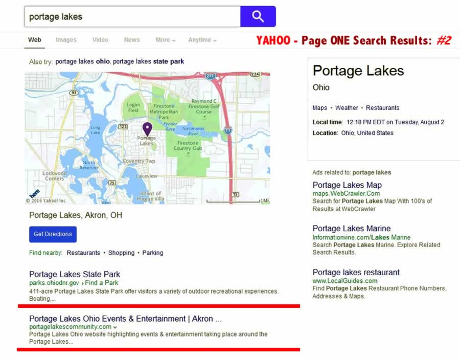 Yahoo Seach - Portage Lakes - Page ONE