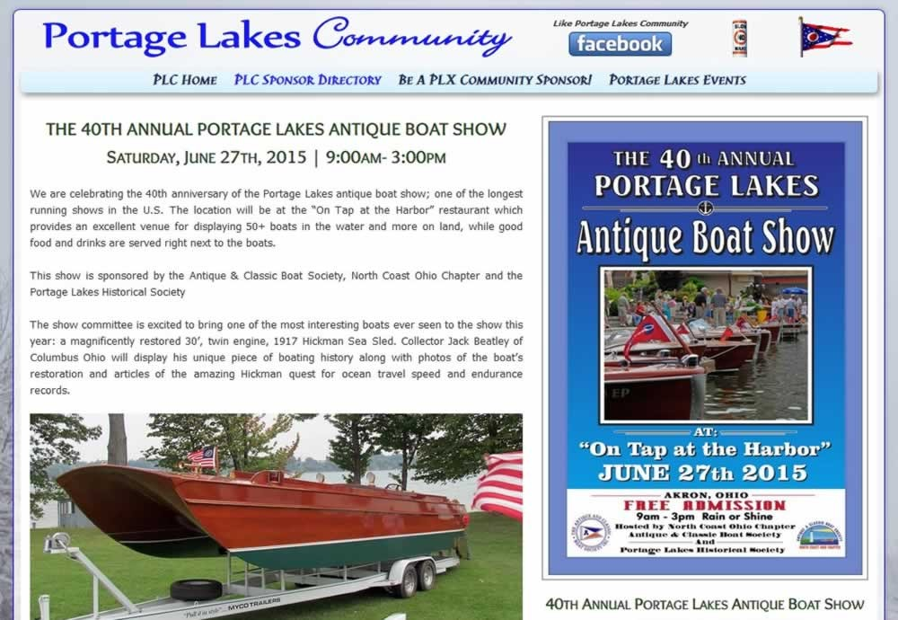 The Antique & Classic Boat Show - Annual Portage Lakes Event!