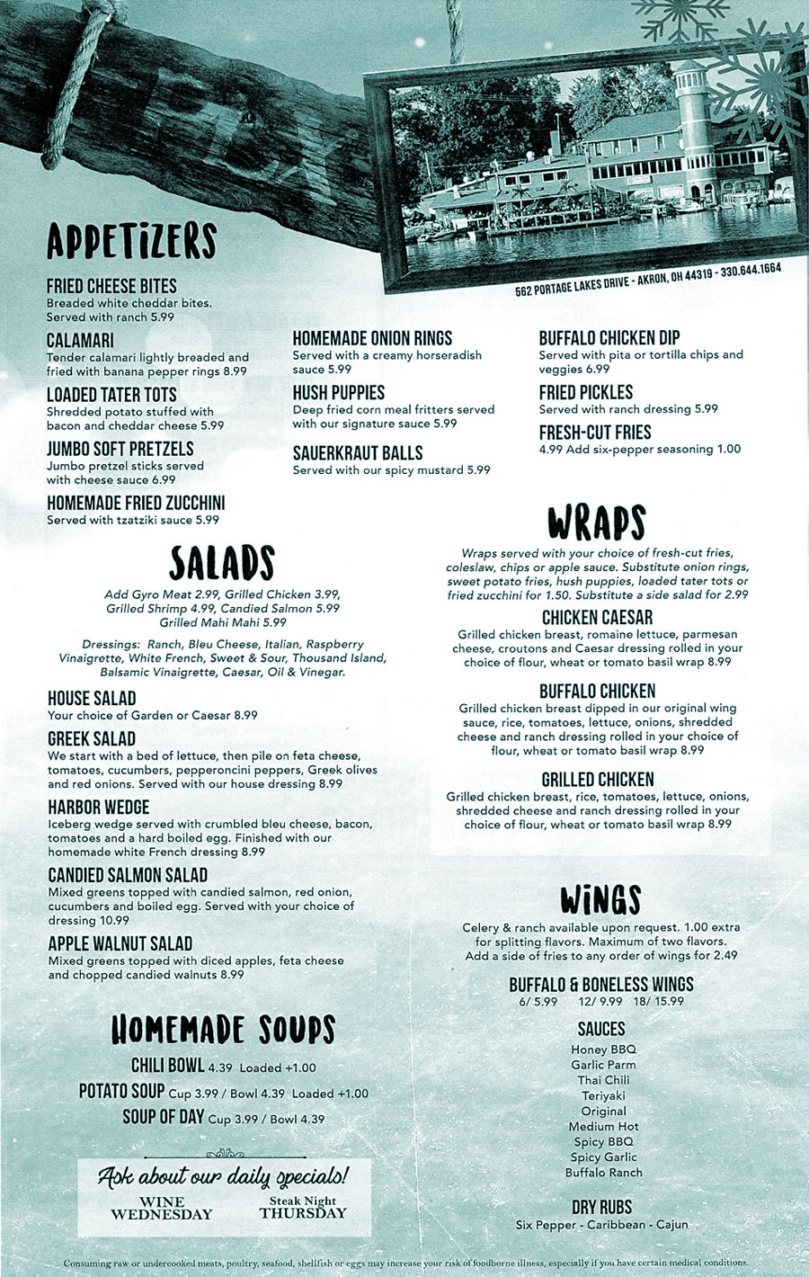2017 Winter Menu - On Tap at the Harbor