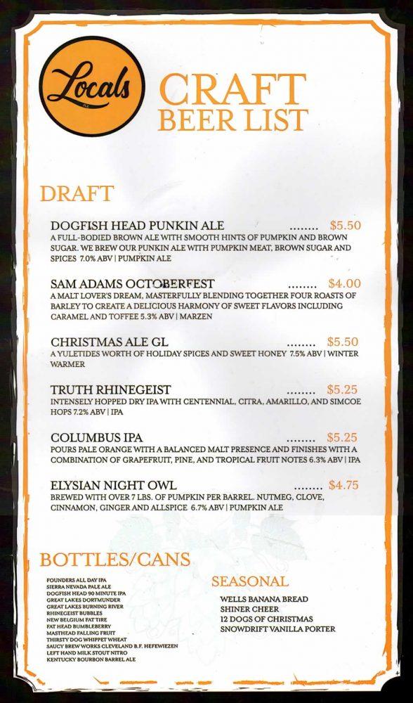 Picks Craft Beer Menu